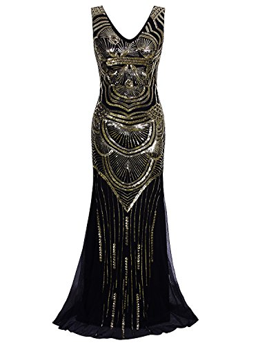 Vijiv 1920s Long Maxi Prom Gowns Sequin Mermaid Bridesmaid Wedding Evening Dress, Medium, Black Gold
