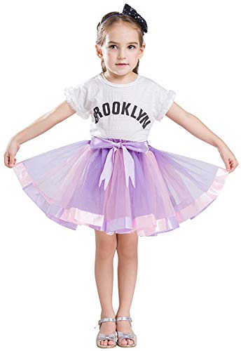wexcen Girls Tutu Skirt for Layered Rainbow Party Ballet Dance Ruffle Tiered Tulle Skirts for Age 2-9 ()