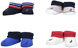 Nautica Baby Boys\' 4 Pack Assorted Booties, Blue/White/Red, 0-6 Months