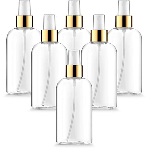 Fine Mist Spray Bottles, Empty Clear Oval 8oz with Fancy Gold Atomizers and Dust Caps, Great for DIY Projects, Aromatherapy, Bug Repellent and Beauty startups (Pack of 6)