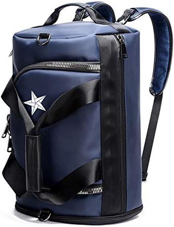 紳士ハンドバッグ メンズファッションミニマルオックスフォード布トラベルボストンバッグバックパック防水荷物ジムスポーツショルダーバッグ多機能 便利で多用途 (色 : Blue, Size : 46x28x25cm)