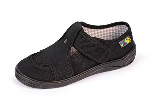 Yaro - Zapatillas de estar por casa de algodón para niño negro 018Schwarz 018Schwarz