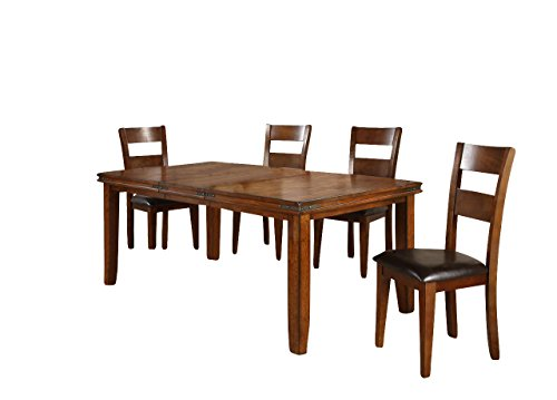 Crown Mark Figaro Casual Dining Room Set with Dining Table, 4 x Side Chair and Bench