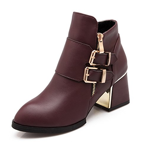 A&N Girls Winkle Pinker Buckle Chunky Heels Imitated Leather Boots Red QKeBxx7Zk1