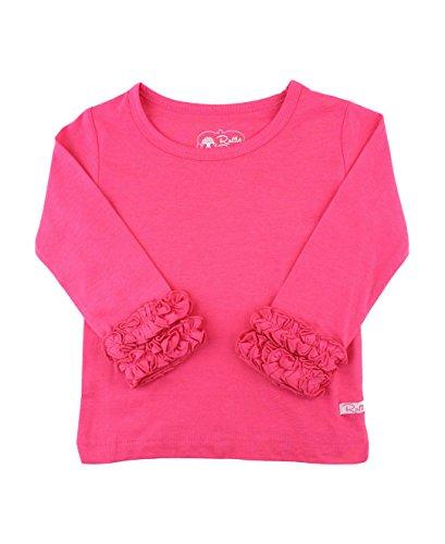 RuffleButts Little Girls Candy Ruffled Long Sleeve Layering Tee - 4T