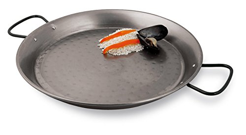 Paderno World Cuisine Polished Carbon Steel Paella Pan, 18.5