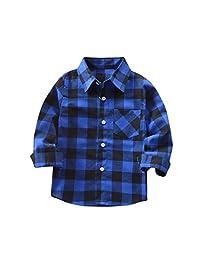 CMrtew Baby Toddler Girls Boys Plaid Shirts Long Sleeve Checks Blouse Autumn Top