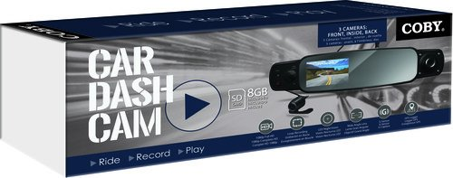 Coby DCHDM-305 Rearview Mirror Dash Cam with 3 Cameras Front, Back & Inside with DVR