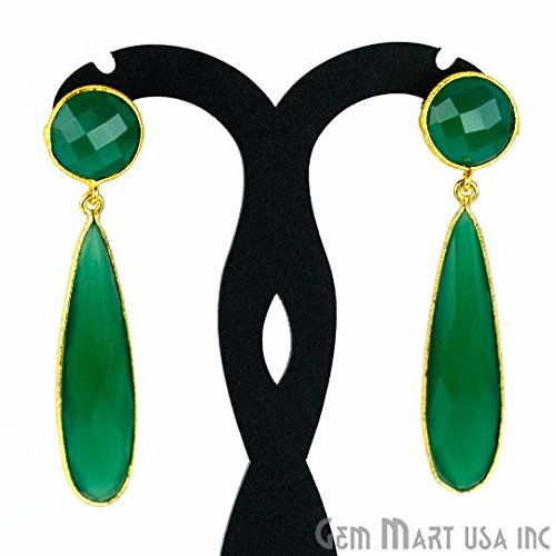 Earrings Onyx Green (Choose Your Smooth Bezel Gemstone Stud Earring 24k Gold Plated Exclusively by GemMartUSA - GREEN ONYX (GOER-90015))