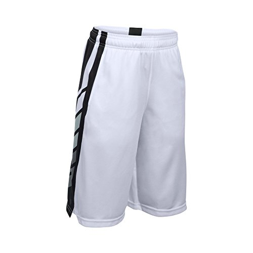 Under Armour Boys' Select Basketball Shorts, White/Black, Youth Small