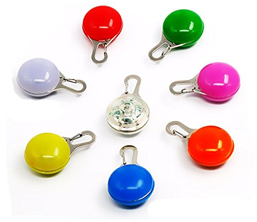 8 Pack Dog/Cat Clip-On Pet Collar Light Waterproof SpotLit LED Dog Collar Charms Safety Lights Stainless Steel Carabiner Clasp Colorful