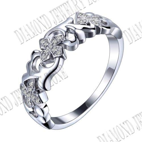 FidgetFidget Sterling Pave Prong Setting Cubic Zirconia Engagement Ring Wedding Band ()