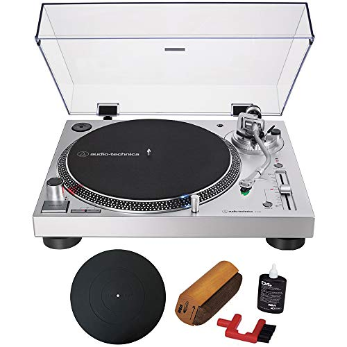 (Audio-Technica Direct-Drive Turntable Analog & USB Silver (AT-LP120XUSB-SV) with Essentials Bundle Includes Protective Turntable Platter and Vinyl Record Cleaning System)