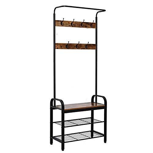IRONCK Coat Rack Free Standing Hall Tree, Entryway Bench, Entryway Organizer, Vintage Industrial Coat Stand, 3 in 1 Design Wood Look Accent Furniture with Stable Metal Frame Easy Assembly (Wood Hall Tree Style Coat)