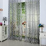 2015 New Chic 200*100Cm Chic Leaf Type Tulle Door Window Tulle Curtains , Rideau Voilage,Rideaux Voile,Green Curtains^Light Grey