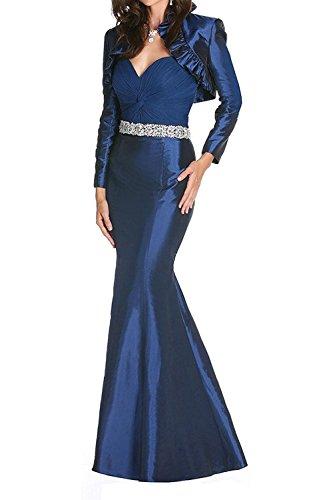 mit Festlichkleider Abendkleider Jaket Langes Partykleider Dunkel mia Ballkleider Langarm La Etuikleider Braut Blau Taft wPqpIIzY