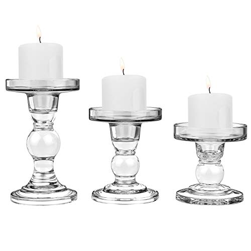 Lewondr Glass Candle Holder Set of 3 Crystal Table Candlestick for 3