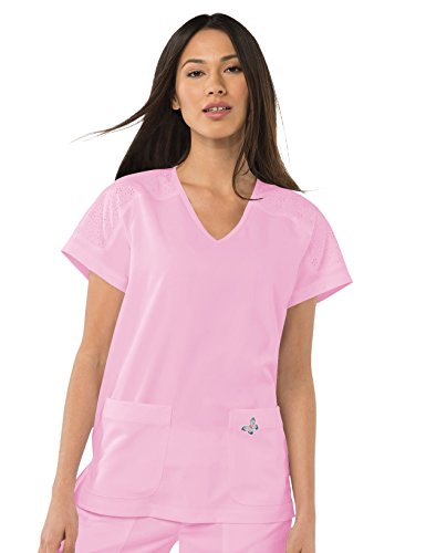 Mariposa by Koi Women's Cassie V-Neck Raglan Sleeve Top- Pink Sachet- 3X-Large ()