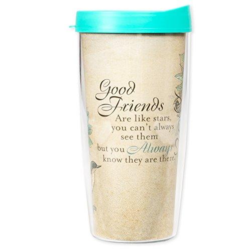 (Good Friends Are Like Stars Floral Bird 16 Oz Tumbler Mug with Lid )