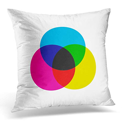 Emvency Throw Pillow Covers Case Black Graph CMYK Color Model Scheme Three Overlapping Circles in Cyan Magenta and Yellow Blue Chart Decorative Pillowcase Cushion Cover 16 x 16 Inches ()