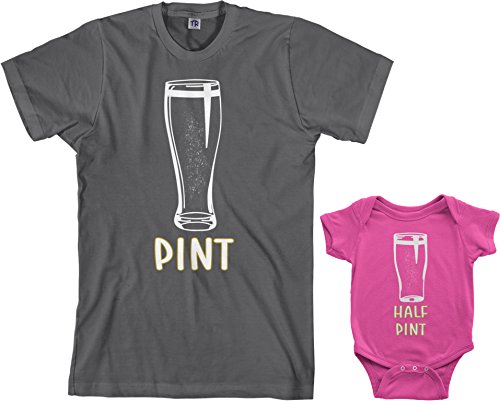 Threadrock Pint & Half Pint Infant Bodysuit & Men's T-Shirt Matching Set (Baby: 12M, Hot Pink|Men's: XL, ()