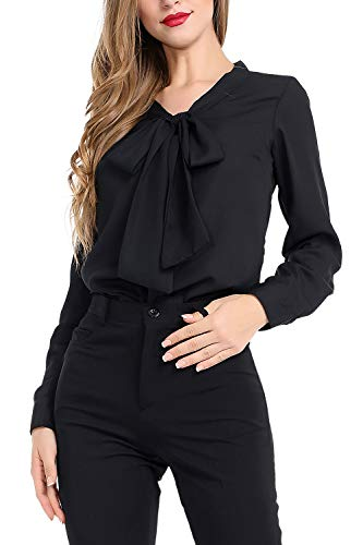 AUQCO Women's Chiffon Blouse Business Button Down Shirt for Work Casual with Long Sleeve/Sleeveless Black - Blouse Front Tuck
