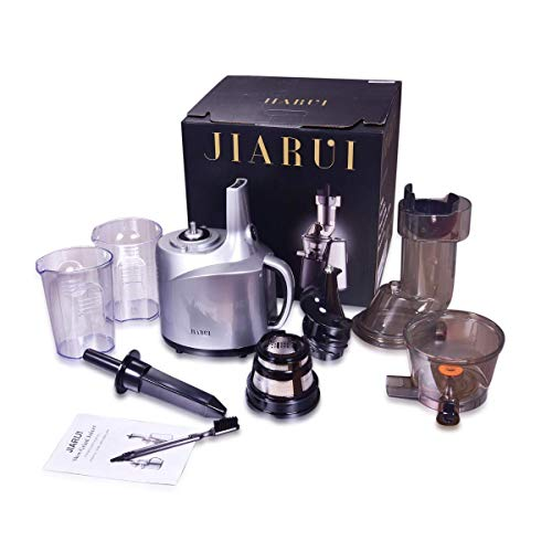 JIARUI 82MM Wide Chute Quite Slow Masticating Vertical Cold Press Juicer, Fruits & Vegetable Juice Extractor (240W AC Motor, 45RPM, BPA Free), 20.9'' x 10.2'' x 6.3'', Silver by JIARUI (Image #5)