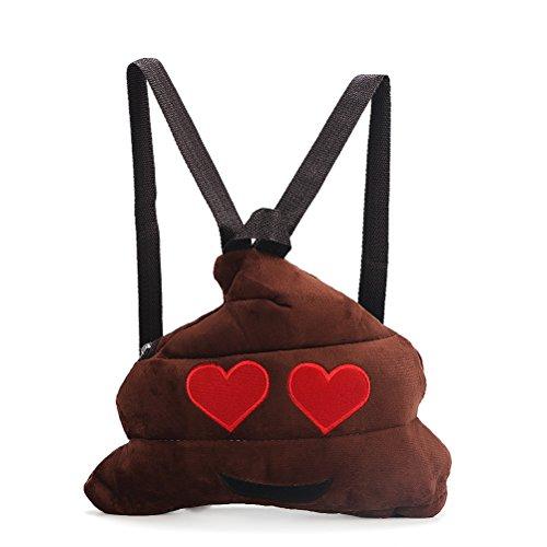 OULII Zaino scuola borsa tracolla carino Poo espressione zaino peluche Poo forma scuola per regalo di natale bambini bambino (OCCHI)