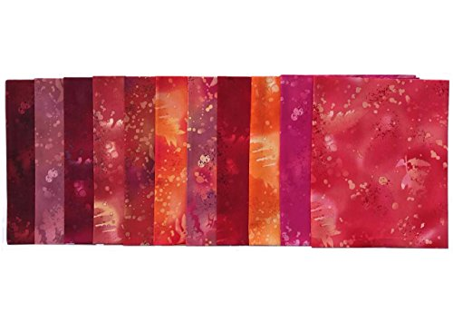 (Fossil Fern Reds 11 pc Cotton Fabric Quilting FQs Assortment by Benartex)