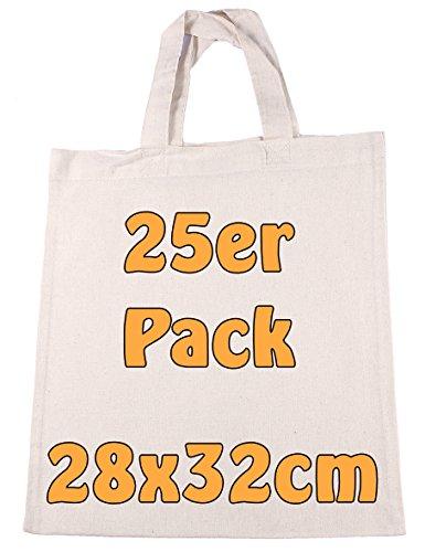 Baumwolltasche Jutebeutel unbedruckt kurze Henkel zum Bemalen DIN A4 Geschenktasche Kindergarten Schule natur 28x32cm 25 Stück