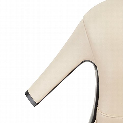 Mee Shoes Damen hocher Absatz Plateau Reißverschluss Stiefel Beige