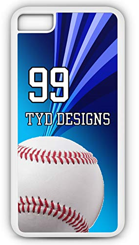 iPhone 7 Plus 7+ Case Create Your Own Baseball Hot Dogs Apple Pie Player Number Name Team Name Customizable TYD Designs in White Plastic