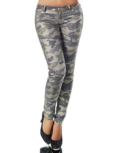 Diva-Jeans - Jeans - Skinny - Uni - Femme Camouflage-olivgrn