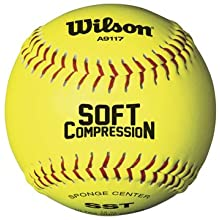 Wilson A9117 Soft Compression Softball (12-Pack), Optic Yellow, 11-Inch