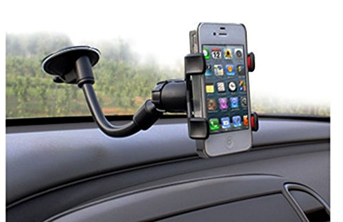 Ipow Long Arm Universal Windshield Dashboard Cell Phone Holder with Strong Suction Cup and X Clamp for iPhone 6 Plus/6 5 4 Samsung Galaxy S6 Edge/s6 S5 S4 S3 Note Nexus Etc - Samsung Galaxy 4 Car Gooseneck