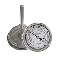 """NOFDA Homebrew Kettle Beer Brewing Thermometer Homebrew Beer Bi-Metal Thermometer 3""""Face & 2""""Probe, 1/2""""MNPT, 0~220F Degree"""