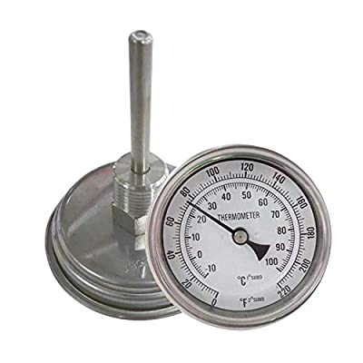 "NOFDA Homebrew Kettle Beer Brewing Thermometer Homebrew Beer Bi-Metal Thermometer 3""Face & 2""Probe, 1/2""MNPT, 0~220F Degree"