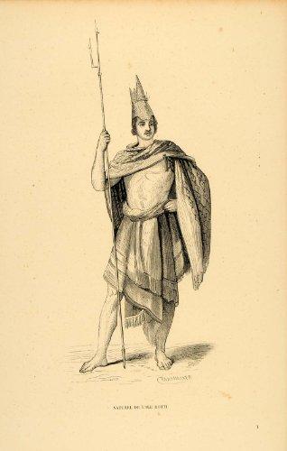 1843 Engraving Costume Man Spear Rotti Island Malay - Original Engraving