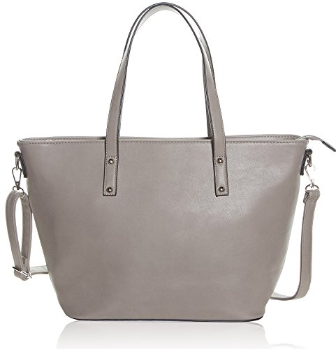 Faux Leather Tote Bag For Women - Convertible Crossbody Tote And Handbag - Top Handle Satchel Purse With Top Zipper Closure (PEWTER) by Pier 17 (Image #8)