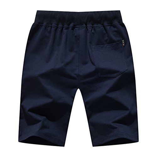 Tansozer Men's Shorts Casual Classic Fit Cotton Jogger Gym Shorts Elastic Waist Zipper Pockets (Black, Large) by Tansozer (Image #5)