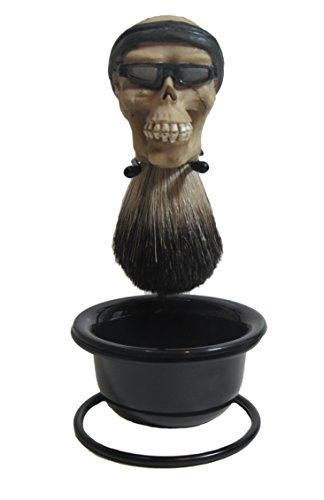 Brown Biker Beard & Mustache (Custom Biker Skull Badger Hair Shave Brush and Stand)