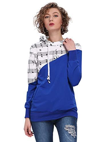 Drum Sweatshirt - Women's Music Notes Printed Color Bloack Pullover Hoodies (Royal Blue, Large)