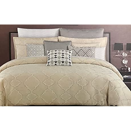 Tahari Home 5 Piece King Comforter Set Golden Beige Tan Comforter Embroidered With Silver Dark Grey Lattice Quatrefoil Pattern Two Shams And 2 Decorative Pillows