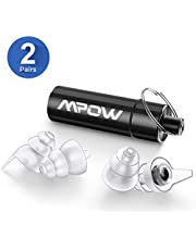Mpow High Fidelity Earplugs 2 Pairs with Acoustic Filter, SNR 28dB Concert Ear Plugs with Aluminum Carry Case, Noise Reduction Music Earplug for Musician, DJ, Drummer, Festival, Nightclub-White&Black