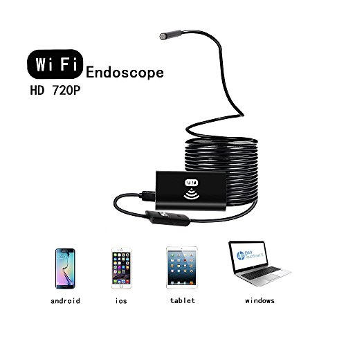 Wireless Endoscope WiFi Borescope video Inspection Camera with 2.0MP HD Snake Camera with 8 adjustable LED Light for both Android and IOS Smartphone,iPhone,Samsung,Tablet,PC - Black 3.5 M)
