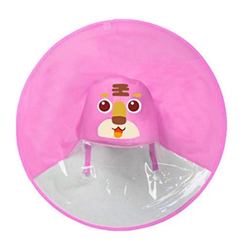 UFO Rain Hat, Shybuy Toddler Kids Cute Cartoon Foldable Wearable Raincoat/Hat Hands Free Umbrella (Pink 2, 70.5cm/27.75'') by Shybuy Baby Clothing (Image #2)