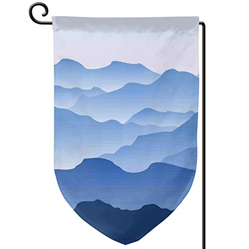 lsrIYzy Garden Flag,Nature Theme A Panoramic Silhouette of The Mountains in The Morning Illustration Print,12.5x18.5 inch