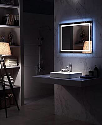 DIYHD Led Lighted Mirror Vanity Square Wall Mount Defogger Bathroom Touch Light Mirror
