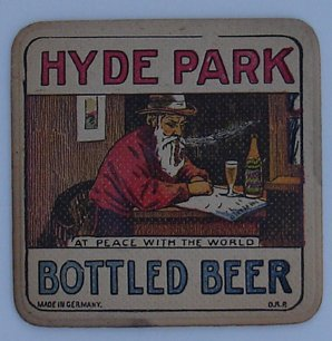 Beer Coaster Hyde Park 1950`s 3-5/8 Square (Hyde Park Beer)