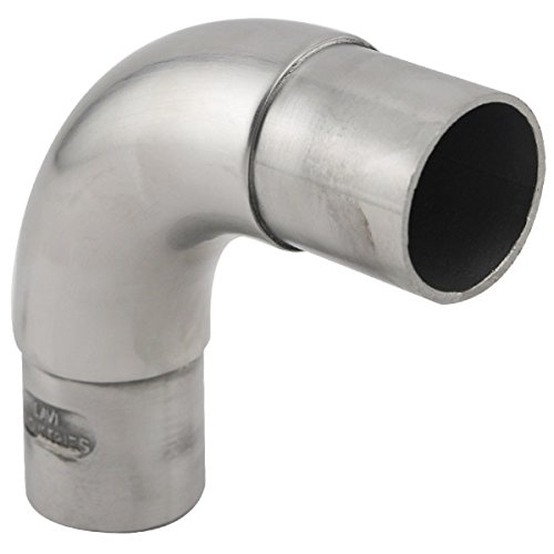 KegWorks 90˚ Degree Curved Flush Elbow Hand Rail Fitting - Brushed Stainless Steel - For 1.5